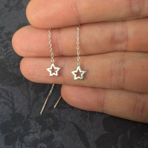 Star Threader Earrings in Sterling Silver